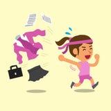 Cartoon businesswoman changing work uniform to sportswear Royalty Free Stock Image