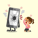 Cartoon businesswoman cry with broken screen smartphone. For design Stock Photo