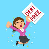 Cartoon businesswoman with debt free letter Royalty Free Stock Photos