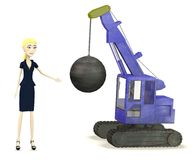 Cartoon businesswoman with destruction crane Royalty Free Stock Images