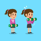 Cartoon businesswoman doing dumbbell bicep curls step training. For design Stock Photography