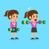 Cartoon businesswoman doing dumbbell lateral raise exercise step training Royalty Free Stock Images