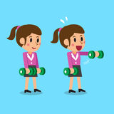 Cartoon businesswoman doing front dumbbell raise exercise step training Stock Photo