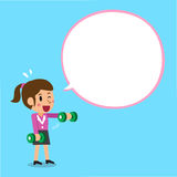 Cartoon businesswoman doing front dumbbell raise training with white speech bubble Stock Images