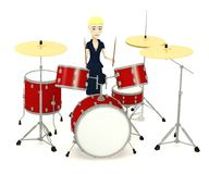 Cartoon businesswoman with drumset Stock Photography