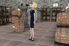 Cartoon businesswoman drunk in cellar Stock Photos