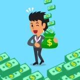 Cartoon businesswoman earning money Stock Photos
