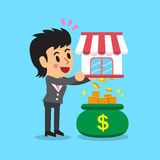 Cartoon businesswoman earning money with her business. For design Stock Photo