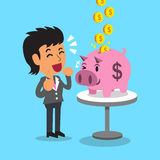 Cartoon businesswoman earning money with pink piggy Royalty Free Stock Photo