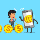 Cartoon businesswoman earning money with smartphone Royalty Free Stock Image