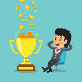 Cartoon a businesswoman earning money with trophy Royalty Free Stock Photography