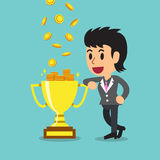 Cartoon businesswoman earning money with trophy Stock Images