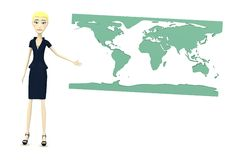 Cartoon businesswoman with earth map Stock Photos