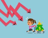 Cartoon businesswoman escape from stock market arrow Stock Photos