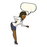 cartoon businesswoman explaining with speech bubble Stock Images