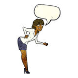 cartoon businesswoman explaining with speech bubble Stock Image