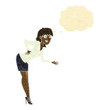 cartoon businesswoman explaining with thought bubble Stock Photo