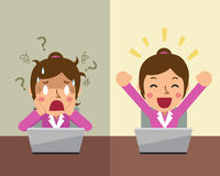 Cartoon businesswoman expressing different emotions Royalty Free Stock Image