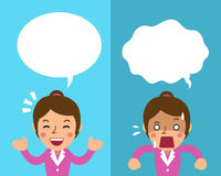 Cartoon businesswoman expressing different emotions with white speech bubbles Stock Images