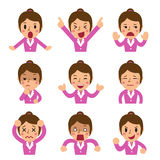 Cartoon businesswoman faces showing different emotions. For design Stock Photos