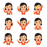 Cartoon businesswoman faces showing different emotions. For design Royalty Free Stock Images