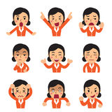Cartoon a businesswoman faces showing different emotions set. For design Royalty Free Stock Image