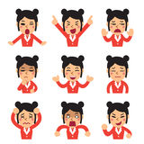 Cartoon a businesswoman faces showing different emotions set. For design Stock Photo