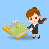 Cartoon Businesswoman fall into finance trap Stock Images
