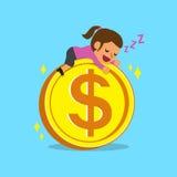 Cartoon businesswoman falling asleep on a big coin Stock Image