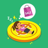Cartoon businesswoman falling asleep on a big coin and dream about shopping Royalty Free Stock Photos