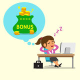 Cartoon businesswoman falling asleep and dreaming about bonus money Royalty Free Stock Images