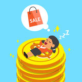 Cartoon businesswoman falling asleep on money coins and dream about shopping Stock Photos