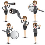 Cartoon businesswoman in finding gesture. Illustration of cartoon businesswoman in finding gesture Royalty Free Stock Images