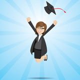 Cartoon businesswoman in graduation form Stock Image