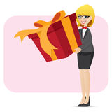 Cartoon businesswoman holding big gift box Stock Image