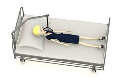 Cartoon businesswoman on hospital bed Royalty Free Stock Images