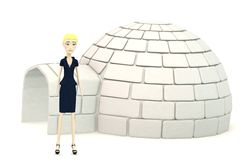 Cartoon businesswoman with an igloo Royalty Free Stock Image