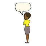 Cartoon businesswoman ignoring with speech bubble Royalty Free Stock Image