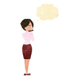 Cartoon businesswoman ignoring with thought bubble Royalty Free Stock Photos