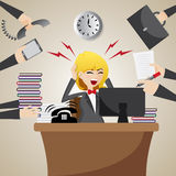 Cartoon businesswoman with many workload Stock Images