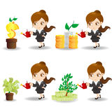 Cartoon businesswoman with money tree Stock Photography