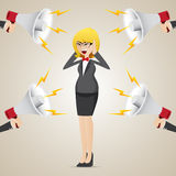 Cartoon businesswoman with noisy megaphone Royalty Free Stock Photo