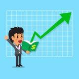 Cartoon businesswoman open a book that has green arrow Stock Image