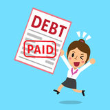 Cartoon businesswoman paid his debt. For design Stock Images