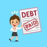 Cartoon a businesswoman paid his debt Royalty Free Stock Photos