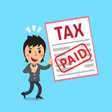 Cartoon a businesswoman paid tax Royalty Free Stock Image