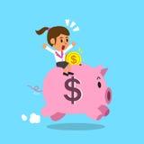 Cartoon businesswoman and pink piggy Stock Photos