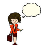 cartoon businesswoman pointing with thought bubble royalty free illustration