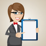 Cartoon businesswoman with presentation blank board Royalty Free Stock Photography