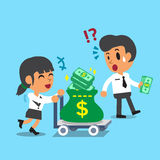 Cartoon businesswoman pushing money trolley and businessman carrying some money Stock Photos